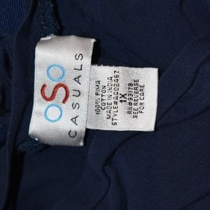 OSO Casuals Tops - OSO Casual Blue 1x Lace Back Cotton Top